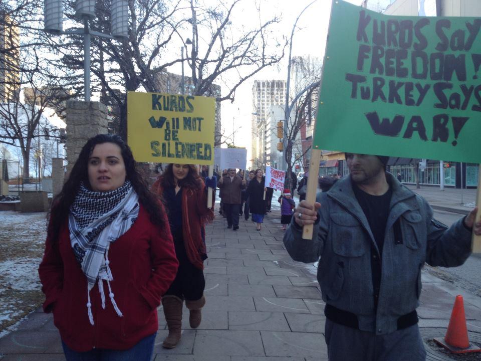 Kurdish community protested in Edmonton, Canada.  - Picture courtesy of Nega Barzinji