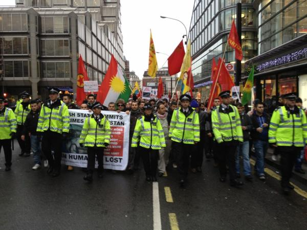 Several hundreds turned up to protest in London. Picture taken by Fazel Hawramy.