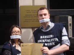 IFJ staff deliver a letter to the Turkish embassy in Brussels to raise concerns about the number of journalists imprisoned in the country.