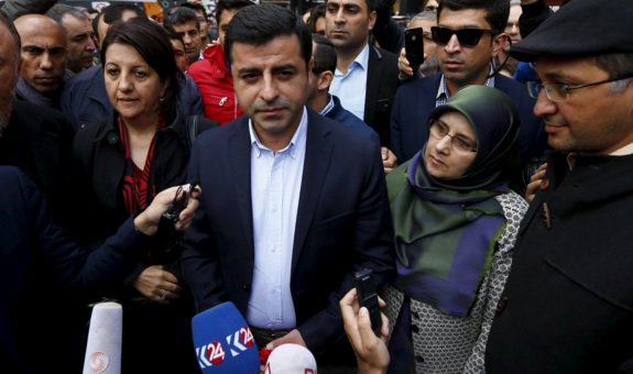 """Turkey craves for peace and calm,"" says pro-Kurdish HDP's co-leader Selahattin Demirtaş after voting in Istanbul. (By @Um_Uras)"